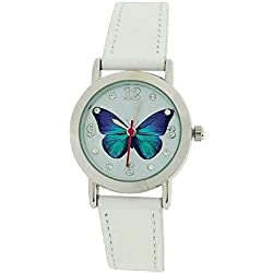 Jo For Girls Analogue White Dial Butterfly & Leather Strap Fashion Watch JW020
