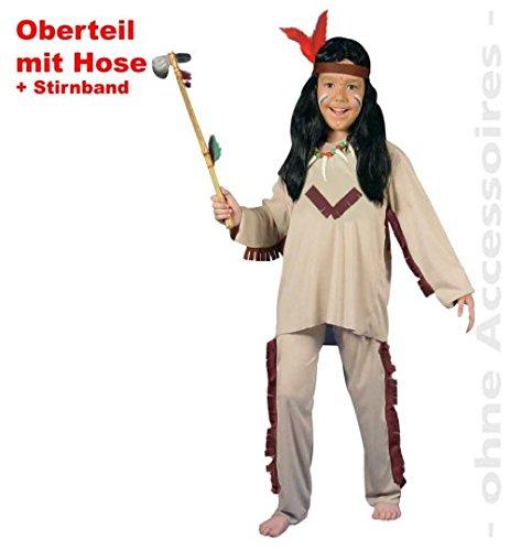 Indianer 3teiliger Anzug PB 1584 Hose + Oberteil + Stirnband Fasching Kinder-Kostüm Gr 128