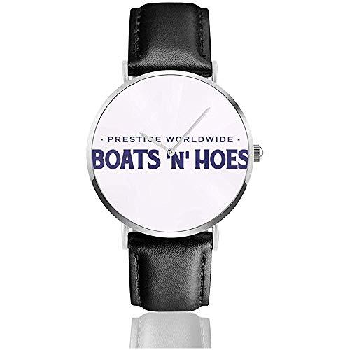 Unisex Business Casual Step Brothers Boats N Hoes, Trucker Cap Watches Reloj de Cuero de Cuarzo