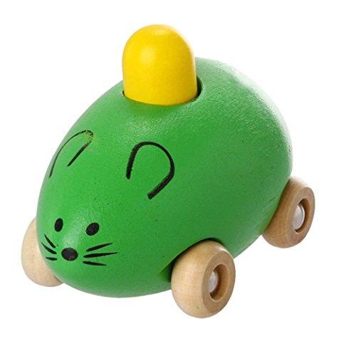 Spielzeugmaus aus Holz von Mamum für Kleinkinder, Babys, quiekende Maus Einheitsgröße grün