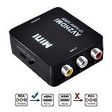 AV a HDMI Convertitore, RCA to HDMI Adattatore, Adattatore RCA a HDMI 1080P Composto RCA CVBS a HDMI Convertitore con Cavo USB per PC Laptop Xbox PS4 PS3 TV STB VHS VCR Fotocamera DVD - Nero