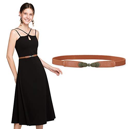 """JasGood Gürtel für Kleid Gürtel Damen Stilvoll Gürtel mit Einfacher Stil Einzigartig Design Damengürtel Elegant und Modisch für Kurzer & Langer Rock Kleid 1-Braun 70cm(28\""""-35\"""")"""