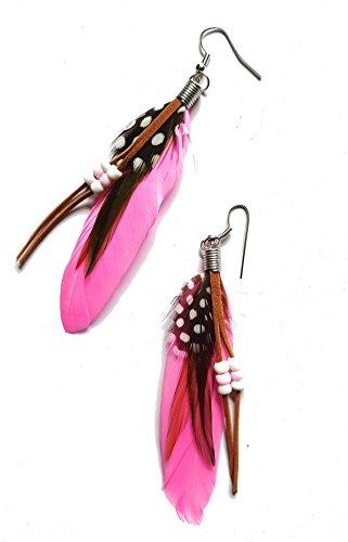 Trend Federohrringe Wild Westina Rosa, Silbern Mit Schwarzen, Rotbraunen und Gepunkteten Federn, Lederbändchen und Perlen (Womens Cowgirl Kostüme)