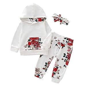 puseky Los bebés Infantiles de Flores con Capucha Ropa de Manga Larga con Capucha + Pantalones Conjunto de Ropa 13