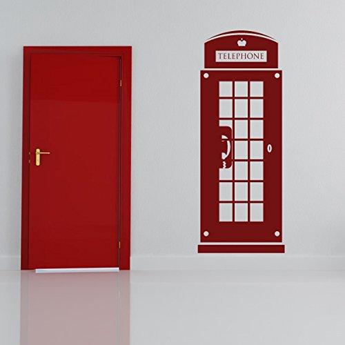 Londoner Telefonzelle Wandaufkleber Britisches Wahrzeichen Wandtattoo Großbritannien Dekor verfügbar in 5 Größen und 25 Farben X-Groß Moos Grün (Britische Telefonzelle Dekor)