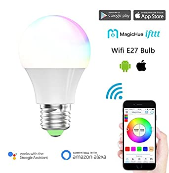 Magic Hue Led Mini Wifi Rgbw Gegenwert 40w Lampe, Dimmbar Energiesparlampen Mit Amazon Echo Alexa, Google Home, Ifttt, Sunrise 16 Mio Farben Leuchtmittel Sonnenaufgang E27 Für Android Und Ios 0