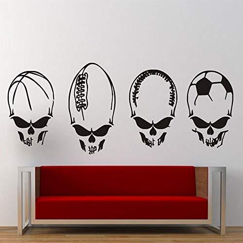 XCGZ Wandtattoo Alien Head Fußball Basketball Rugby Baseball Aufkleber Bar Boy Man Room Decor Wandaufkleber-32_X_85_cm_