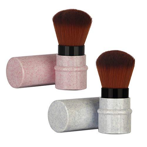 B Blesiya 2 Piezas Cepillo de Blush Pincel de Maquillaje Brush de Polvo Suelto - Rosa + azul