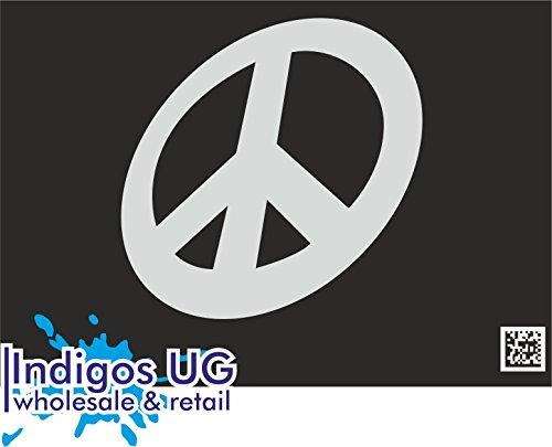 INDIGOS UG - Aufkleber Autoaufkleber - JDM Die Cut - Peacezeichen - Friedenszeichen - 90x90mm Silber Auto Laptop Tuning Sticker Heckscheibe LKW (Friedenszeichen-autoaufkleber)