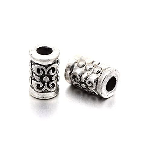 Packet of 30 x Antique Silver Tibetan 5 x 7mm Tube Spacer Beads - (HA17055) - Charming Beads