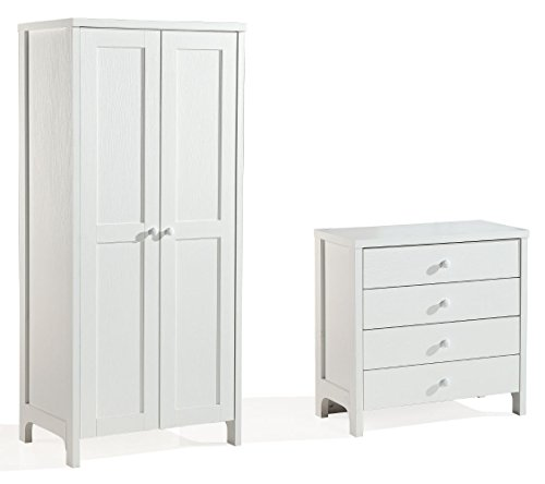 Victoria White Bedroom Furniture set. Wardrobe and 4 Drawer Chest