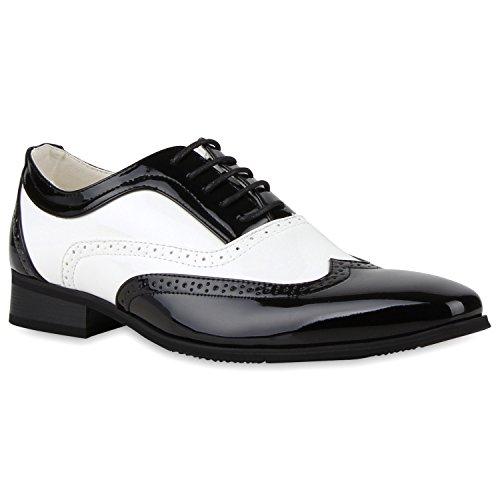 Stiefelparadies Elegante Herren Tanz Budapester Lack Halb Schnürer Anzug Schuhe 116882 Schwarz Weiss 43 | Flandell® (Leder Weiss Schuhe Herren)