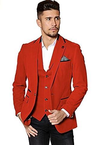 Mens Marc Darcy Designer Red Velvet Blazer Evening Jacket Size 34-52 Available - 50R