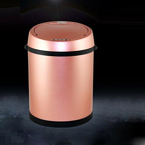 LyMei Mülleimer Edelstahl Intelligente Sensor Mülleimer Hotel, Home Fashion Abfalleimer, Wohnzimmer, Badezimmer, Küchen Bins,Pink_12L
