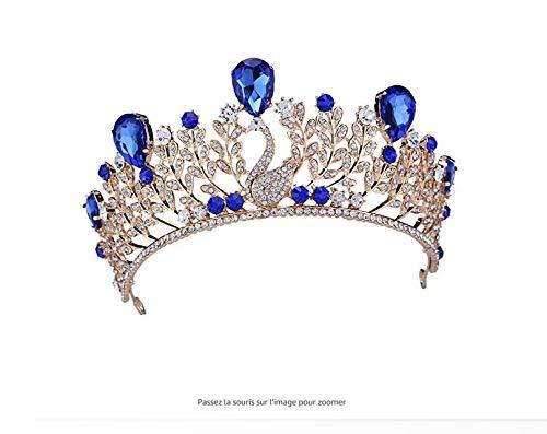 Ballsaal Schmuck Kostüm - Jewelry M Blauer Kristall Blatt Tiara Kronen Haar Strass Schmuck für Hochzeit Ballsaal Hochzeit