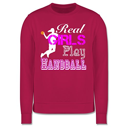 Handball - Real Girls Play Handball weiß - Herren Premium Pullover Fuchsia