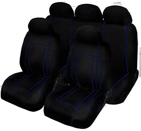 XtremeAuto® WLW2 - rev_9piece_seatcovers Black/Blue Trim ,Complete 9 Piece Velour