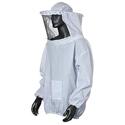 Bee Suit, OUTERDO Protective Beekeeping Veil Smock Beekeeper Suit Coat Jacket Equipment with Hat&Gloves 2