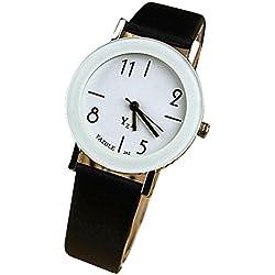 OUMOSI Women Quartz Watch Leather Strap Casual Wristwatch