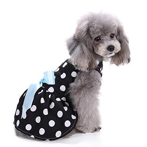 Jamisonme Hund Kleider für Kleine mittlere große Hunde Mädchen Sommer Hund Rock Lady Hund Kleid Floral Rock Hund Prinzessin Bogen Kleid von (schwarz mit weißen ()