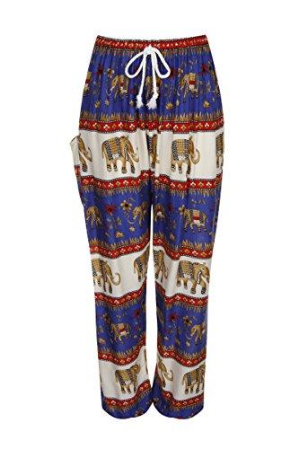 ThaiUK -  Pantaloni  - Donna Elephant Band Blue Red 2