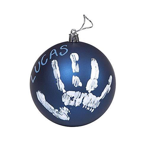 Baby Art 3601096900 Bastelset: Weihnachtskugel für Handabdruck und Namen des Kindes zum Selbstbemalen, blau