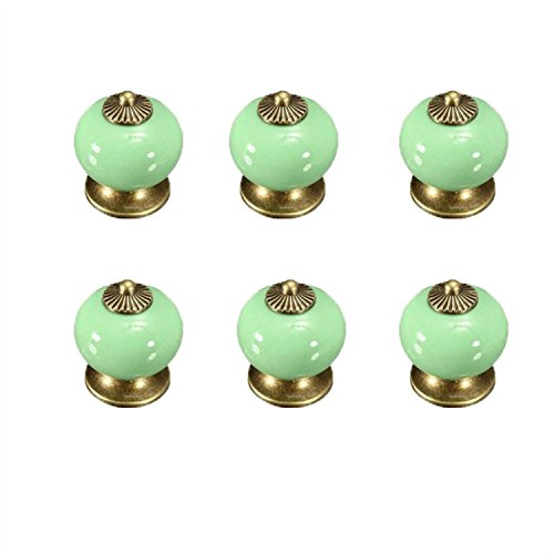 Grüner Schrank (FBSHOP(TM) 6PCS Neu Grün Europa Stil Keramik Porzellan Knöpfe Möbelgriffe Möbelknauf MöbelKnopf für Schränke, Schubladen,SKüche, Schlafzimmer, Badezimmer)