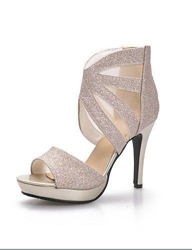 ShangYi Chaussures Femme-Mariage / Décontracté / Soirée & Evénement-Noir / Argent / Or-Talon Aiguille-Talons / Bout Ouvert-Sandales-Similicuir Silver