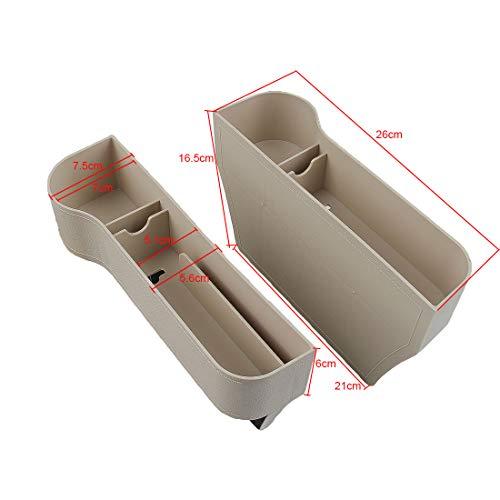 Seitentaschen-Organizer - Autositz Füller Gap Space Console Aufbewahrungsbox Flaschen Getränkehalter Münzsammler mit Loch für USB-Kabel, / Car Interior Zubehör (Beige Kunststoff)