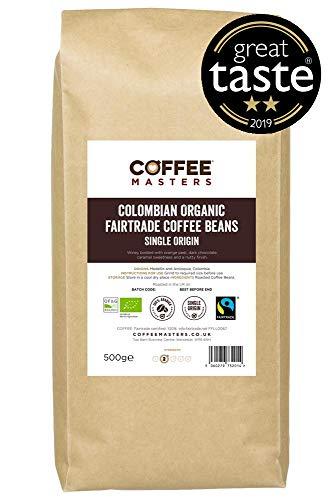 Coffee Masters kolumbianische Bio-Fairtrade Kaffeebohnen 1kg - Gewinner des Great Taste Award 2019