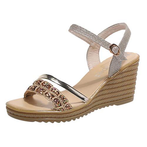 JiaMeng Ladies Slope mit Einem Wort Sandalen weibliche europäische und amerikanische Mode Pailletten Strass High Heels Wilde Dicke Sohlen...