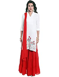 Kashish By Shoppers Stop Womens V Neck Embroidered Kurta, Skirt And Dupatta Set