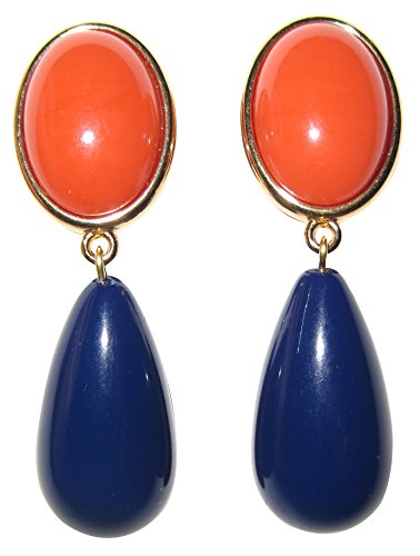 Orange-blaue leichte sehr große Ohr-Clips vergoldet Stein korall-rot Anhänger dunkel-blau tropfen-förmig Designer JUSTWIN Geburtstag ()
