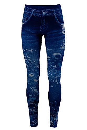 Bongual Thermo Leggings in Jeansoptik, Fleece-Leggings,Warme Frottee-Leggings,Treggings mit Muster, Fell-Leggins 36-38-40 (One Size, Paisley)