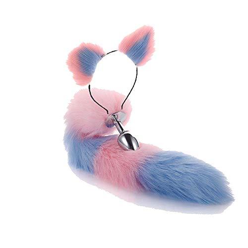 ieoyl Haarreif mit Ohren, rosafarbenes Innenfutter, rosafarbener Fuchs, rosafarbener Schwanz