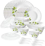 Larah by Borosil Green Leaves Silk Series Opalware Dinner Set, 35 Pieces, White