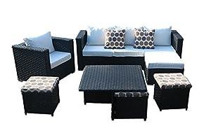 Yakoe Monaco Serie Wintergarten Outdoor 9 sitzer Ecksofa Poly Rattan Lounge Set Esstisch Sets Gartenmöbel Terrasse, Schwarz, 193 x 68 x 68 cm