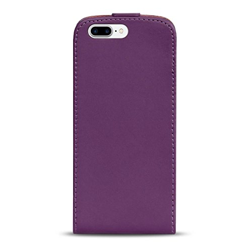 Premium Schutzhülle für - iPhone 7 Plus - Hülle Flip Case Wallet Tasche aus PU Leder Farbe: Grün Lila