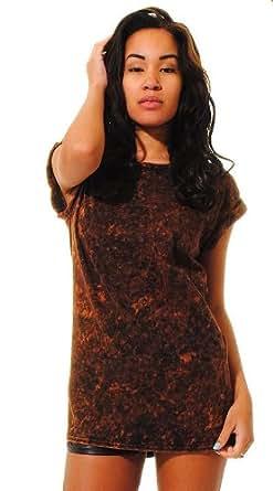 NEW WOMENS ACID WASH TOP BROWN WASH T-SHIRT TURN UP CAP SLEEVE ACID WASH TEE 8-14