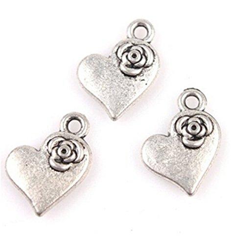 50stk Antike-Silber Herz mit Blumen Anhänger Charme Legierung Schmuck Basteln Beads