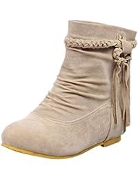 Women Boots Shoes, SOMESUN Il tallone dell'alto tallone di modo delle donne merletta i pattini della piattaforma delle signore delle scarpette (35, rosso)