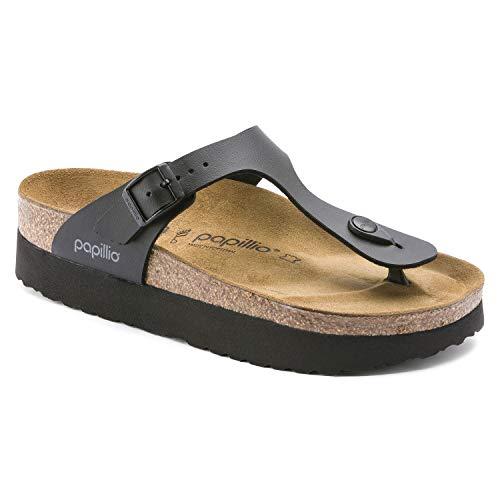 Papillio Damen Gizeh Platform Birko-Flor Black Sandalen 39 EU Black Suede Platform Sandals