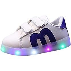 Calzado deportivo para bebés, ❤️ Manadlian Niño emisores de luces LED zapatos casuales zapatos de piel brillante niños y niñas de calzado deportivo de moda (Azul, 2.5-3 años)