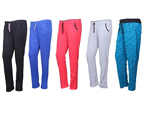 IndiWeaves Cotton Lower/Track Pants/Pyjama for Women(Pack of 5)_Black/Royal Blue/Pink/Gray/Firozi_Size-Large_73200-1617182024-IW-P5-L