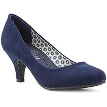 Lilley - Zapato de salón con tacón alto, de gamuza sintética, azul marino, para mujer Lilley