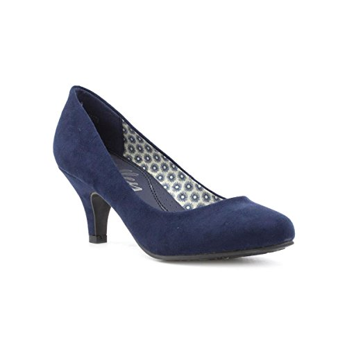 Lilley Womens Navy Faux Suede Heeled Court Shoe - Size 7 UK - Blue