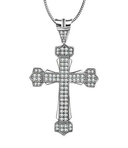 Aooaz Femmes Mesdames Argent Pendentif Collier Croix Amour Fleur CZ Collier Argent018