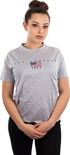 T Shirt Damen Shirts Usa T-Shirt Sommer Sexy T-Shirts Mädchen Flagge Flag Los Angeles LA Hellgrau M/L