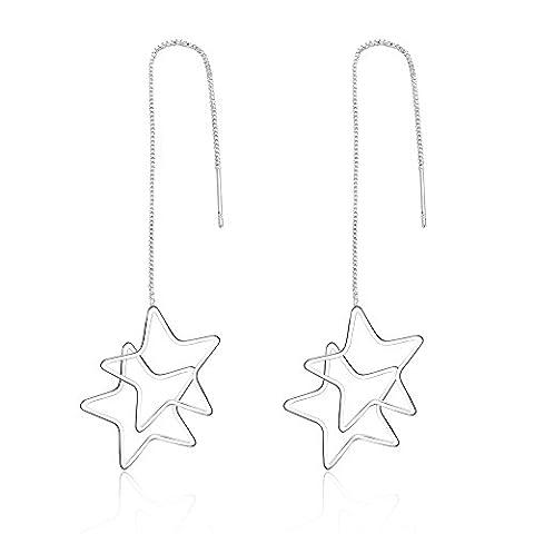 Zwei Star baumeln Drop Einfädler Ohrringe Kette Ohrringe 925Silber (Kette Einfädler Ohrringe)