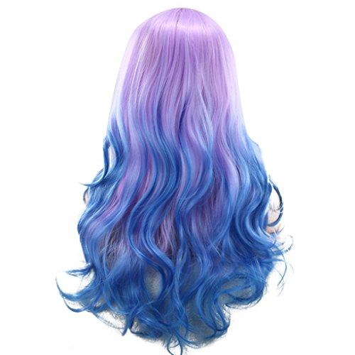 QHGstore Laides Gradient Lange Curly Wellige Synthetische Perücke Cosplay Mix Lila Blau Voll Perücken (Kurze Perücke Haarteil)